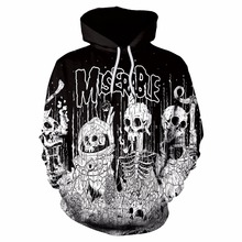 2017 Autumn Winter New Arrive Men/Women 3D Hoodies Sweatshirts Print Miserable Skull Hooded Hip Hop Tracksuits Pullover(China)