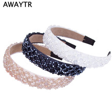 Fashion Handmade Crystal Wide Hairband Hair Band for Women 2017 New OL Lady Black Beaded Ribbon Headband Hair Accessories
