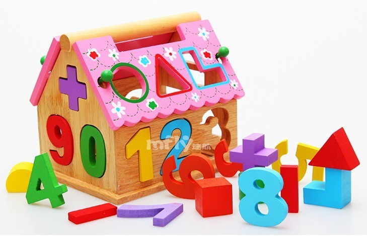 Wooden Toys Montessori Early Learning Toy Wooden Digital Geometry Solid Wood Small House Figure Blocks<br><br>Aliexpress