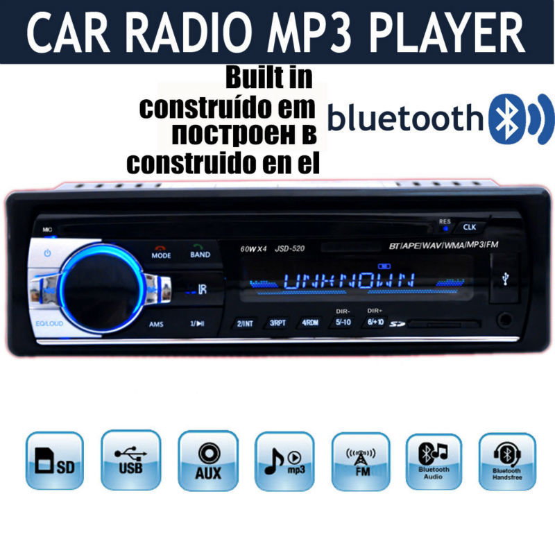 2017 12V Car Stereo FM Radio MP3 Audio Player built in Bluetooth Phone with USB SD MMC Port Car radio bluetooth In-Dash 1 DIN<br><br>Aliexpress