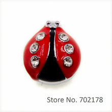 Wholesale 50pcs ladybug Internal Dia.10mm slider Charms Fit 10mm Pet Collars wristbands Jewelry Finding SL510(China)