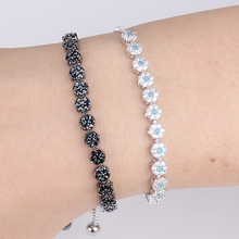 Top Quality Black and Blue Cubic Zirconia Crystal Tennis Allure Adjustable CZ Bracelets for Lady