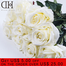 DH 11pcs/lot luxury white Artificial Fake Silk rose flowers bouquet for wedding home decoration accessories valentine day gifts