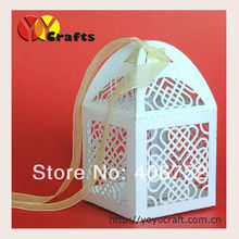 hot sale new design customized event & party supplies paper laser cut elegant heart shaped small cake boxes for wedding
