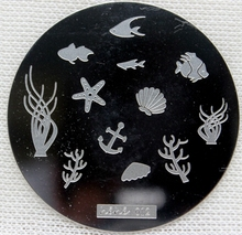 Nail Art Stamping Plate Template Fish Shell Anchor Seaweed Coral Nail Art Stamp Template Image Plate hehe012