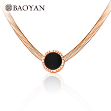 "Baoyan Fashion 316L Stainless Steel Rose Gold Black ""Forever Love""Round Disc Pendant Soft Snake Chain Choker Necklace for Women(China)"