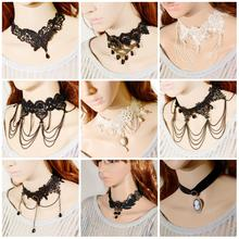 Gentle Clear Fresh Alluring Women Crystal Rhinestone Bib Pendant Chunky Chain Lace Necklace Beauty Gift