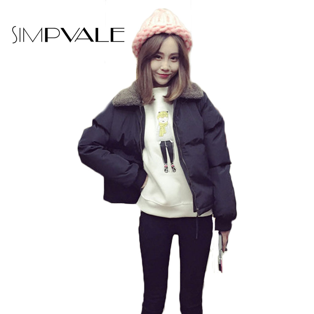 Winter Cotton Down Jacket Women 2016 New Fashion Zipper Lambs Wool Lapel Warm Casuals Soild CoatОдежда и ак�е��уары<br><br><br>Aliexpress
