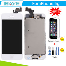 White For iPhone 5 LCD Display for Iphone5 lcd screen Touch Digitizer Assembly Pantalla + mobile phone Tempered Glass +Tools