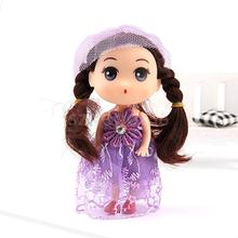 Mini Doll Charm Key Ring Toy 12cm Girl with Long Veil Dress Keychain Ornament Handbag Decor Split Ring Gift