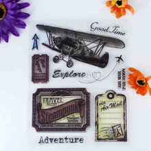 Good Time AIR MAIL Adventure Scrapbook DIY photo cards account rubber stamp clear stamp transparent stamp 14x18cm KW673137(China)