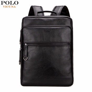 VICUNA POLO Large Capacity Cool Black Leather Men Backpack Promotion Solid Black Mens Laptop Backpack Leather Backpack mochila