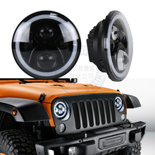 2PCS New DOT Emark approved 7inch round car led headlight 50w Hi/Lo beam 10-30v with Halo ring for wrangler L-and Rover Defender