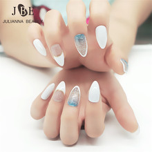 24Pcs Stiletto Pointy Full False Nail Tips With Glue Almond Shape Multi Color Acrylic Gel Claw Tips Printing Blue Glitter