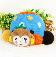 New Arrival Monkey Design Baby Hat Knitting Kat For Kids Crochet Children Hat Baby Hats Caps Baby Hats For Winter 5 colors(China)
