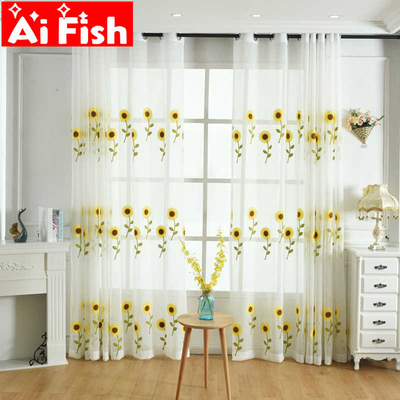 Yellow Sunflower Embroidered Curtains for Living Room Window Treatments Tulle for windows Balcony Linen Sheer Fabrics AP186-30