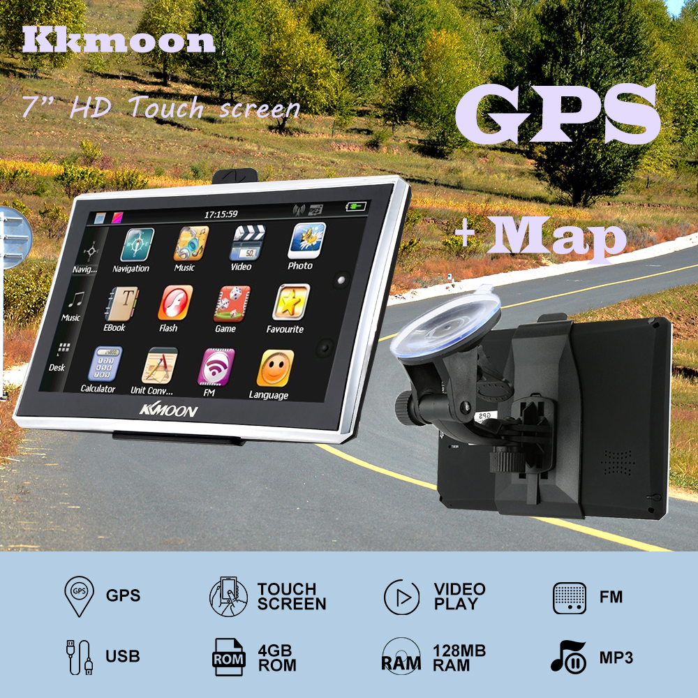 "7"" HD Touch Screen Portable GPS Navigator 4GB ROM FM MP3 Video Play Car Entertainment System with Back Support +Free Map(China (Mainland))"