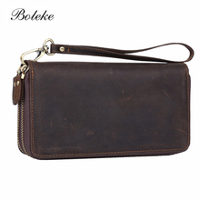 Vintage Men Crazy Horse Genuine Leather Organizer Wallet Card Holder Purse Double Zipper Clutch Brand Wrist Hand Bag 1020-4(China)