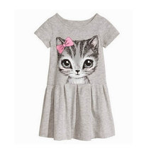 New 2016 summer girl dress cat print grey cartoon pattern baby girl dress children clothing children dress 100%cotton 0-8years
