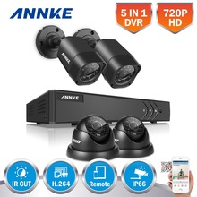ANNKE 4CH 1080N HD 5IN1 DVR CCTV System 4pcs 720P TVI Security Cameras Outdoor Dome and Bullet type CCTV Surveillance kit