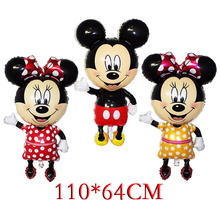 110*64cm Red bowknot Mickey Minnie Mouse foil Balloons Classic kids Toys Birthday Party Supplies Big Size Mickey balloons