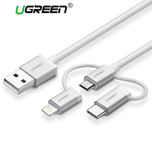Ugreen 3 in 1 Lightning USB Cable For iPhone 6 7 5 Micro USB Cable Fast Charging USB Type C For Android Phone Mobile Phone Cable(China)