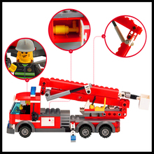 Factory Price 244Pcs Building Blocks Toy Fire Fighting Truck DIY Assemble Figure Educational Brick Brinquedos For Kids+With Gift