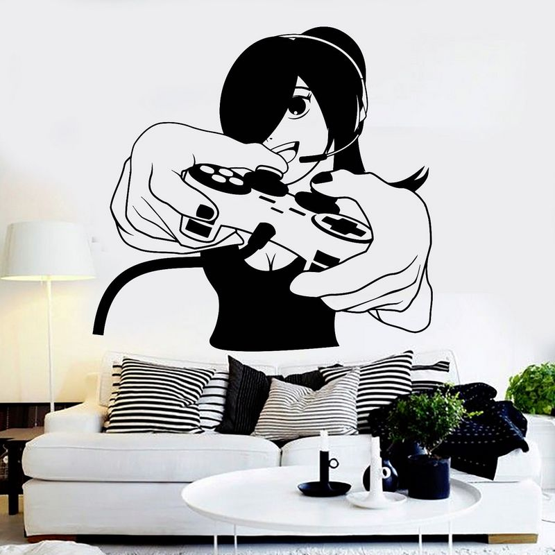 DCTAL Game Handle Sticker Girl Gamer Decal Gaming Posters Gamer Vinyl Wall Decals Parede Decor Mural Video Game Sticker