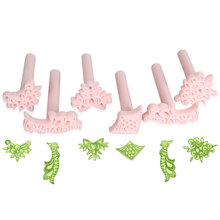 6 Pcs Cake rose flower Plunger Fondant Decorating Sugar Craft Mold Cutter Tools(China)