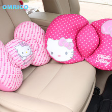 Bowknot Decorative Pillows Seat Cushions Car Covers Plush Cushion Supports Cute Cartoon Pink Hello Kitty Car Accessories Women