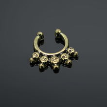 Skull New Cheap Fake Septum Clicker On Nose Faux Hoop Rings Cheat Piercing Body Jewelry Bronze Alloy