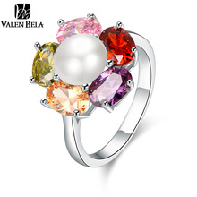 VALEN BELA Colourful Zircon Lmitation Pearl Ring for Women Bague Femme Bijoux White Color anelli Jewelry JZ5132(China)