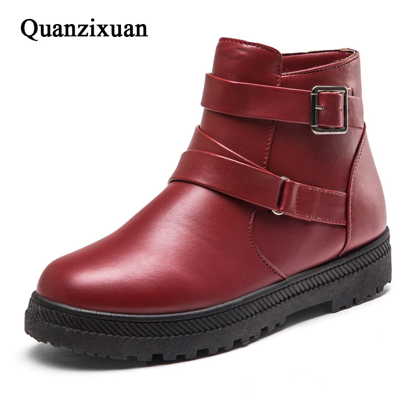 Women Boots Fashion PU Leather Winter Boots Women Shoes Casual Snow Ankle Boots<br>