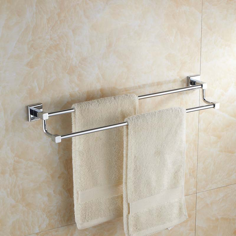 Wall hanging Silver Brass Square Base Bathroom Towel Rack Towel Rod  Bathroom Hardware   Bathroom Accessories Double Bar <br>