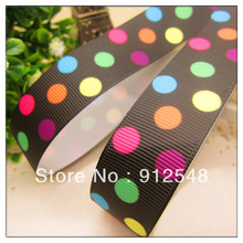 "7/8""(22mm)  black with colorful dots printed grosgrain ribbon ,DIY hairbow accessories, gift package yd22008"