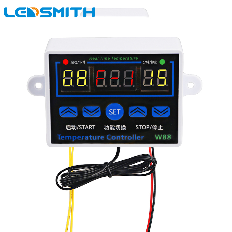 LEDSMITH XH-W88-W1411 Digital Thermostat 110V 220V Three Display Multi-function Temperature Controller Output 10A 220V AC