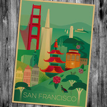 San Francisco Skyline Classic Home Decoration vintage Poster Wall Chart Retro Paper Matte Kraft Paper cafe bar pub wall painting(China)