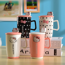 Creative Kawaii Hello Kitty Mugs Novelty Cartoon Cups Ceramic Cute Summer Cool Drink Milk Coffee Mug Juice Water Cup Xmas Gifts