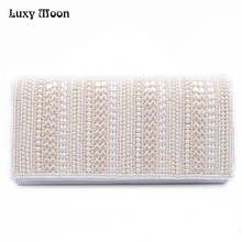 Pearl Clutch Off White Handbags 2016 Hand Made Pearl Beaded China Style Women Evening Bags Chain Shoulder Bags ZD513