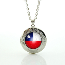 Hot sale new fashion Chile football team logo glass cabochon locket pendant Necklace casual sports style men jewelry gifts N493(China)
