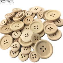 ZOPHIL 50pcs Mix Size Primary Color Round Fashion Shirt Buttons Wood Decorative Clothing Sewing Supplies Wooden DIY Craft Badge(China)
