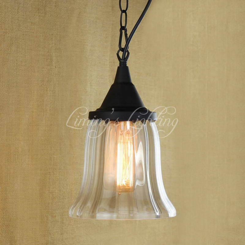 Modern Iron Retro Hanging Clear Glass Cup Pendant Lamp With Edison Light Bulb|Kitchen Lights And Cabinet Lights<br>