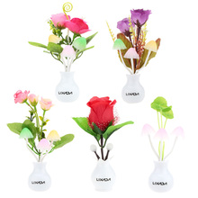 Light Sensor Night Lamp Mushroom Lotus Leaf Rose Flower Dream Bedroom Light Indoor Home Decoration AC 110-220V Nightlight