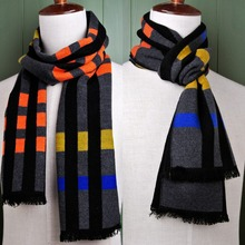 Brand New Checked Men And Women Scarf Cashmere Tassel Wrap Unisex Winter Multicolor Scarves Trendy Present Free Shipping(China)