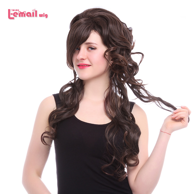 L-email wig Heat resistant Synthetic Fiber 70cm Women Daily Dark Brown Long Curly Hair Fashion Wigs KR22<br><br>Aliexpress