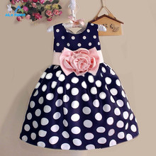 Hot Sale Christmas Super Flower girls dresses for party and wedding Dot print Princess Kids Dress Fashion Children's Clothing