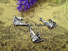 75pcs--Wind Surfing Charms, Antique Tibetan silver Water Sports  charm Pendants, DIY Supplies,22x15mm