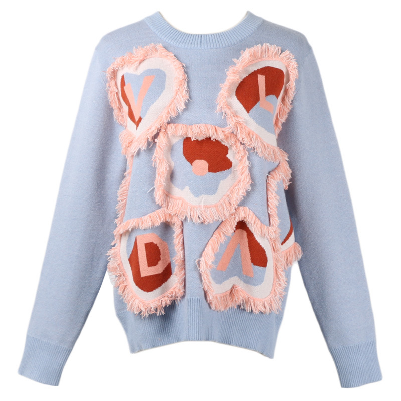 GRUIICEEN 2018 new tassel knit sweater women loving heart letter pattern pullovers jumper GY2018559