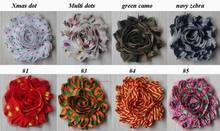 "Free USA ePacket/CPAP 50y 53 prints 2.5"" shabby printed chiffon flower trim for DIY headbands hair clips clothing embellishments"