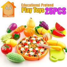 MiniTudou Colorful Miniature Food Cut Vegetables Toy 25PCS Olastic Fruit Food Toys For Girls Kitchen Pretend Play Set For Kids(China)
